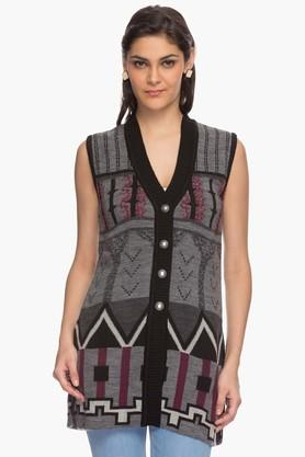 ONER Womens V Neck Knitted Printed Cardigan