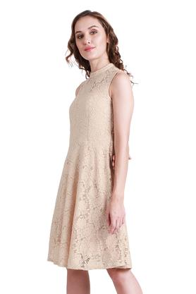 Womens Round Neck Lace Skater Dress