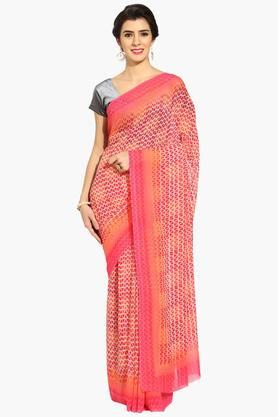 Women Temple Print Georgette Saree