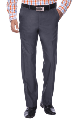 VAN HEUSENMens Flat Front Slim Fit Solid Trousers - 9479019