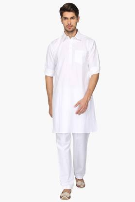 Mens Collared Solid Kurta and Pyjama Set