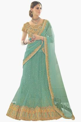 MAHOTSAV Womens Embroidered Semi-stitched Lehenga Choli