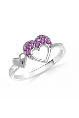 MAHI Mahi Valentine Love Rhodium Plated Purple Heart Ring Made With Swarovski Elements For Women FR1104001RPur