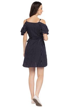 Womens Round Neck Striped Shirt Dress