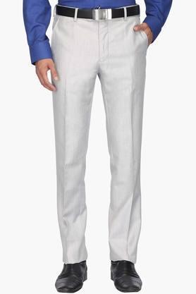 VAN HEUSENMens Slim Fit 4 Pocket Slub Formal Trousers