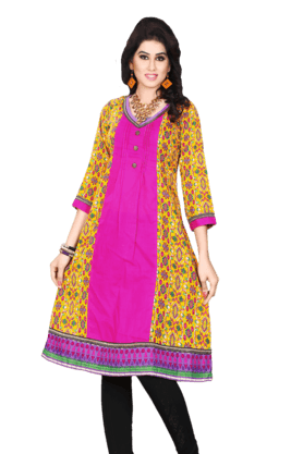 DEMARCA Womens Printed Kurta (Buy Any Demarca Product & Get A Pair Of Matching Earrings Free) - 200936920