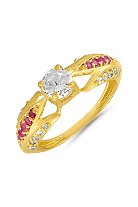 MAHI Mahi Gold Plated Criss-Cross Ruby Finger Ring For Women FR1100644G