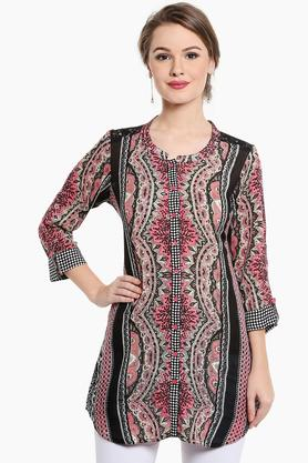 SANAA Womens Mandarin Neck Printed Lace Yoke Kurta
