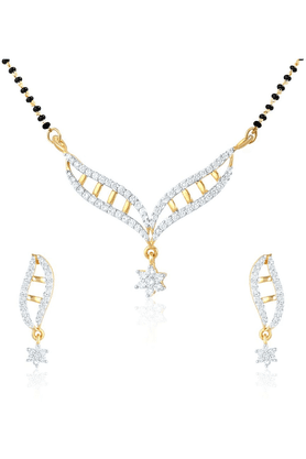 MAHIMahi Daily Wear Fashion Mangalsutra Set Of Brass Alloy With CZ For Women NL1101407G