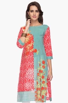STOP Womens Boat Neck Printed Kurta
