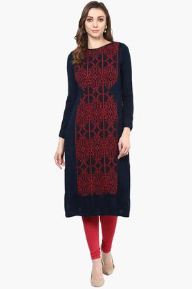 W Womens Round Neck Printed Knitted Kurta - 201809978