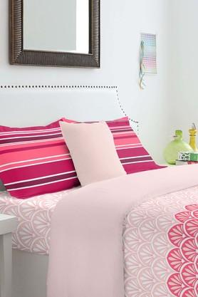 SPACES Cotton Printed King Bedsheet With Pillow Cover - 201613118