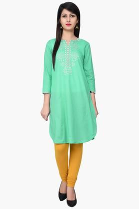 JUNIPER Women Zari Embroidered Kurta - 201932785