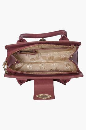 Womens Leather Metallic Lock Closure Tote Handbag