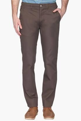 Mens Tapered Fit 5 Pocket Solid Chinos - 201957616