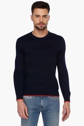 LEVISMens Full Sleeves Round Neck Stripe Sweater