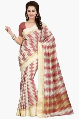 ISHIN Womens Printed Poly Silk Saree