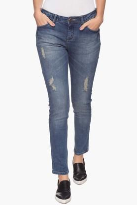 Womens Mild Wash Distressing Jeans