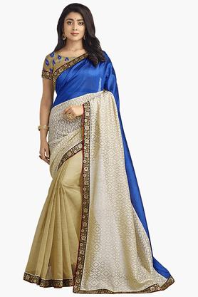 Womens Banarasi Silk Saree (Buy any Demarca product & get a pair of matching earrings free)