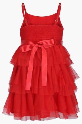 Girls Round Neck Embellished Dress