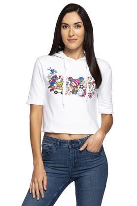 Womens Hooded Neck Printed Sweatshirt