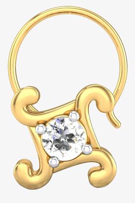 VELVETCASEWomens 18 Karat Yellow Gold Nose Ring (Free Diamond Pendant) - 201065054