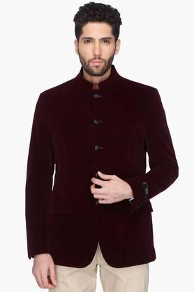 THEME Mens Solid Full Sleeve Nehru Jacket
