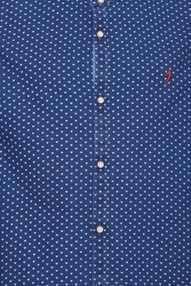 Boys Mao Collar Printed Shirt