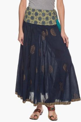 BOHEMYAN BLUE Womens Printed Flared Long Skirt