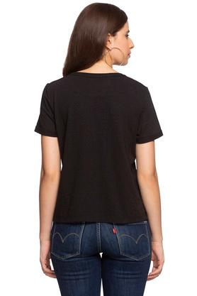 Womens Round Neck Slub Embellished Top