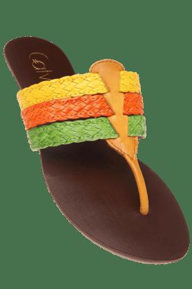 CATWALKWomens Yellow Slipon Flat Sandal