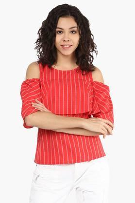 Womens Round Neck Cold Shoulder Stripe Top