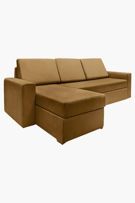 Scarlet Rust Fabric Sectional Sofa Bed (2 Seater - 1 Lounger)