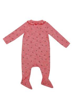 Unisex Ruffled Collar Printed Babysuit