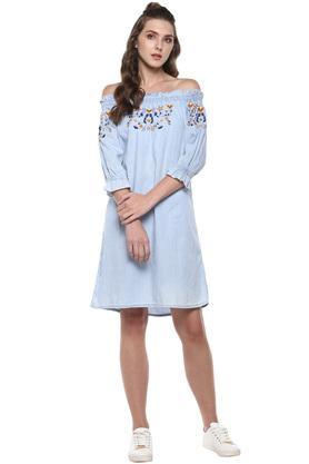 Womens Off Shoulder Embroidered Shift Dress
