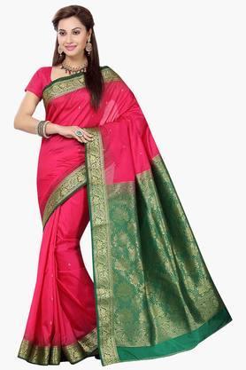 ISHINWomens Poly Silk Brocade Banarasi Saree