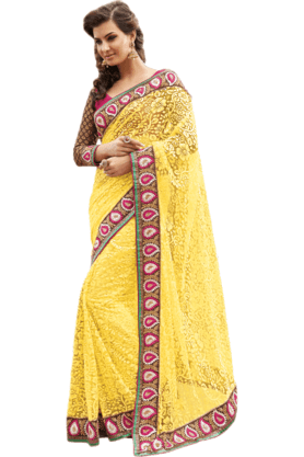 DEMARCA Womens Embroidered Saree (Buy Any Demarca Product & Get A Pair Of Matching Earrings Free) - 200946968
