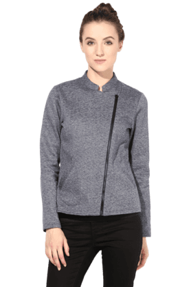 THE VANCA Women Polar Fleece Jacket In Blue Color