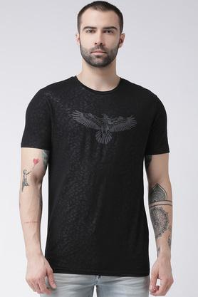Mens Round Neck Self Printed T-Shirt