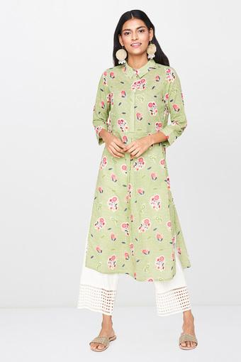 GLOBAL DESI -  Green Kurtas - Main