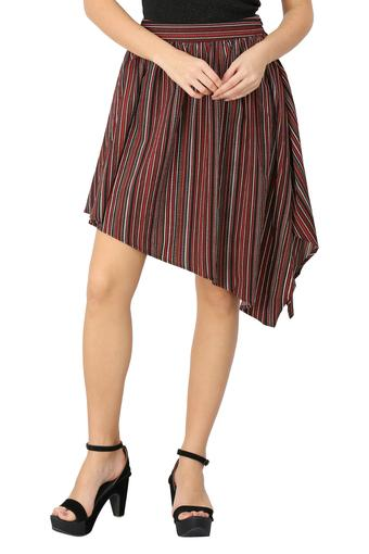 Womens Stripe Asymmetrical Skirt