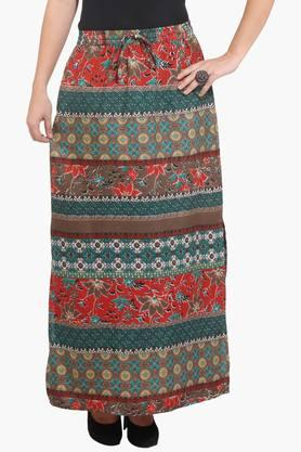 PURYS Womens Printed Long Skirt - 201730045