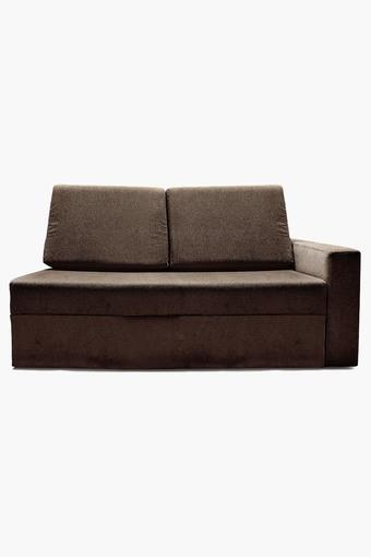 Earth Brown Fabric Sectional Sofa Bed (2 - Seater)