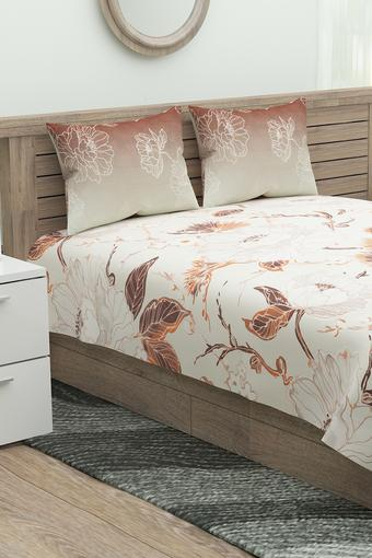 Floral Printed Double Bed Sheet with 2 Pillow Cover