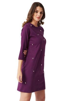 Womens Round Neck Embellished Mini Shift Dress