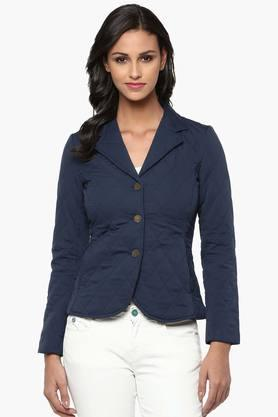 THE VANCA Womens Solid Quilted Notched Lapel Jacket - 201743798