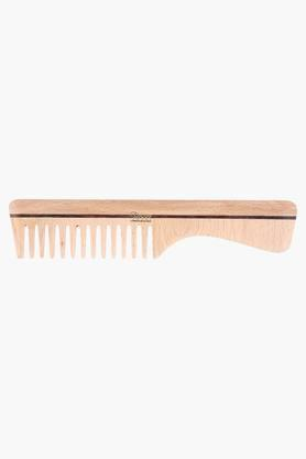 ROOTS Wooden Wide Teeth Comb With Handle For Wavy/ Curly Hair- 1102