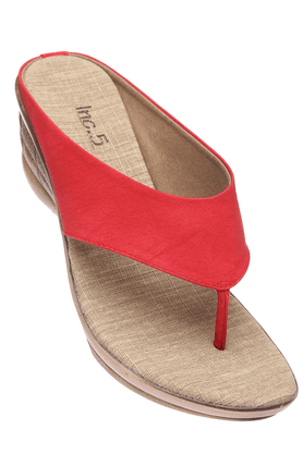 INC.5 Womens Red Toned Casual Wedge Sandal