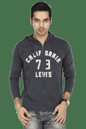 LEVISMens Full Sleeves Hooded Slim Fit Printed Sweatshirt