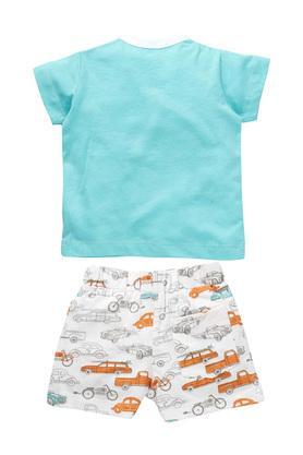 Boys Round Neck Printed T-Shirt and Shorts Set
